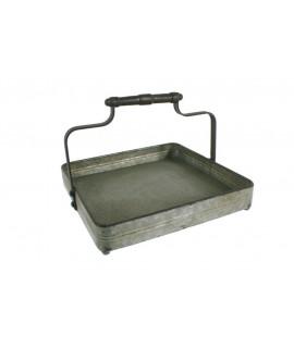 Centre de taula rústic en metall acabat zincat amb nansa estri contenidor organitzador i fruiter. Mesures: 20x27x27 cm.