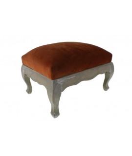 Repose-pieds bois mariné tapisserie orange décor vintage reste pieds conford
