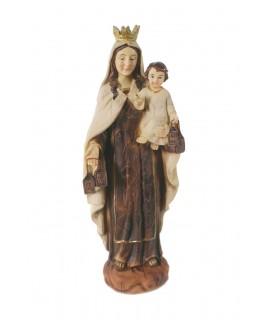 Figure religieuse de la Virgen del Carmen avec finition en bois. Mesures: 20 cm.