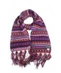 Bufanda de lana doble capa artesanal unisex de multicolor lila para el frio invierno regalo original. Medidas: 180x16 cm.