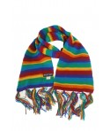 Bufanda de lana doble capa artesanal unisex de color arcoíris para el frio invierno regalo original. Medidas: 180x16 cm.
