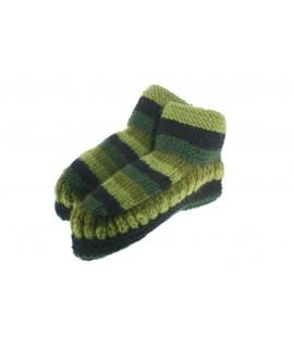 Chaussons en laine faits à la main pour une couleur verte unisexe pour dormir au chaud, doux et confortable pour un cadeau.
