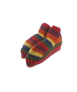 Chaussons en laine faits à la main pour unisexe adulte de couleur marron pour dormir au chaud, doux et confortable pour un cadea