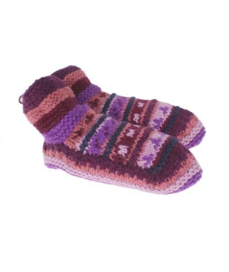 Patucos de lana artesanal para adulto unisex color lila para dormir calientes suave y cómodo para regalo.