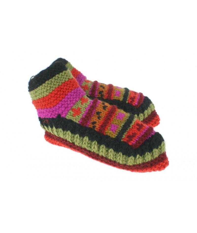 Patucos de lana artesanal para adulto unisex color naranja para dormir calientes suave y cómodo para regalo.