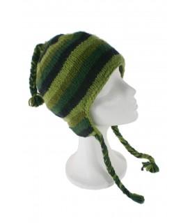 Gorro de invierno artesanal de lana con orejeras y forro polar cálido color verde para mujer y hombre