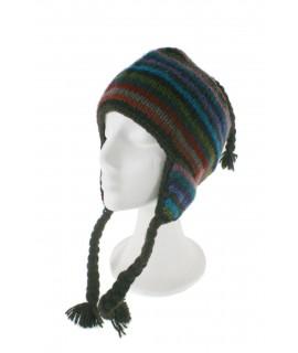 Barret d'hivern artesanal de llana amb orelleres i folre polar càlid multicolor marró per a dona i home