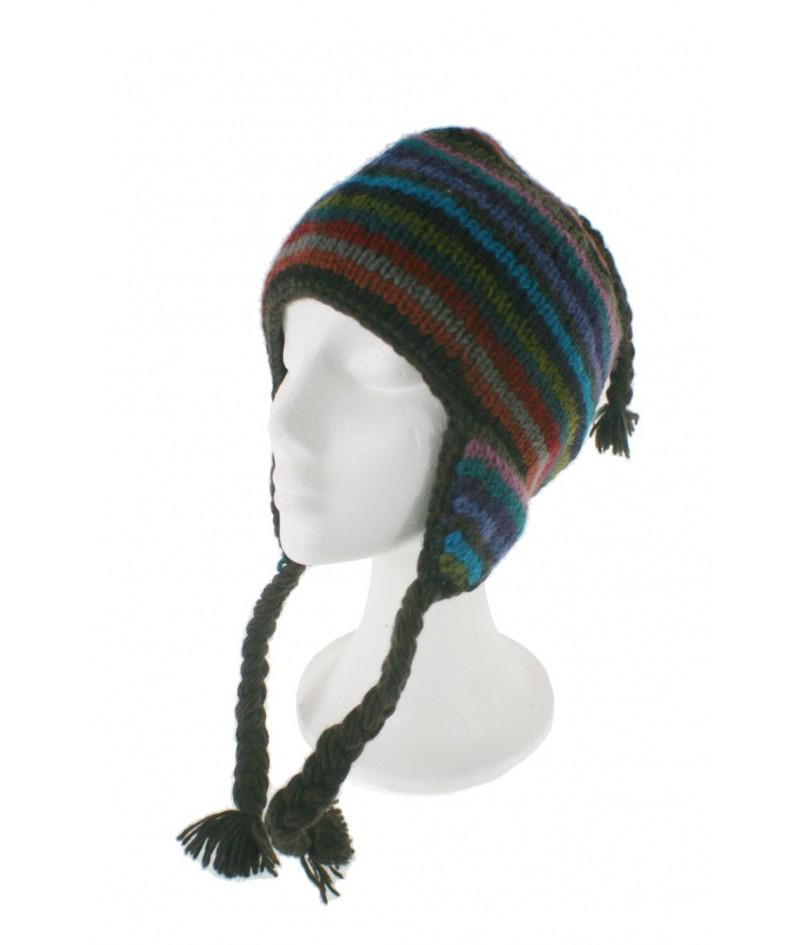 Gorro de invierno artesanal de lana con orejeras y forro polar cálido multicolor marrón para mujer y hombre