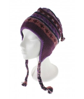 Barret d'hivern artesanal de llana amb orelleres i folre polar càlid color lila per a dona i home