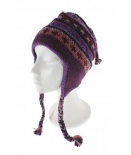 Gorro de invierno artesanal de lana con orejeras y forro polar cálido color lila para mujer y hombre