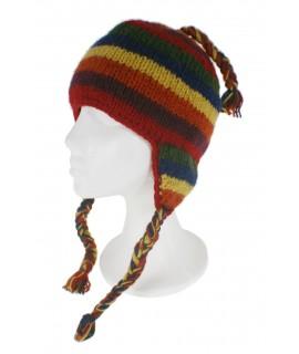 Gorro de invierno artesanal de lana con orejeras y forro polar cálido color rojo para mujer y hombre