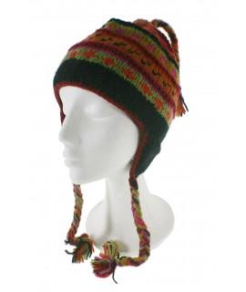 Gorro de invierno artesanal de lana con orejeras y forro polar cálido color naranja para mujer y hombre