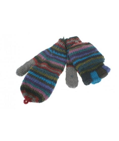 Guantes mitones con capucha de lana color azul artesanal guantes calientes suaves cómodos para el frio invierno guantes mitones