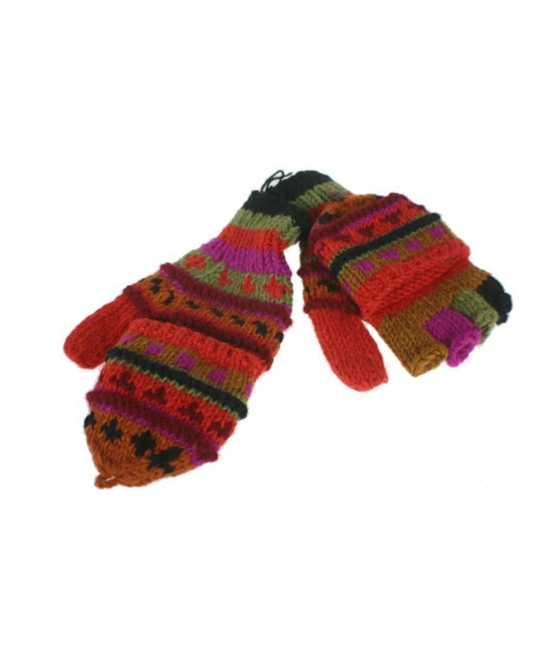 Guantes mitones con capucha de lana color naranja artesanal guantes calientes suaves cómodos para el frio invierno guantes mito
