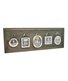 Marco para cuatro fotos individuales en madera envejecida.