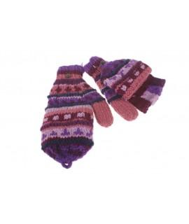 Guantes mitones con capucha de lana color lila artesanal guantes calientes suaves cómodos para el frio invierno guantes mitones