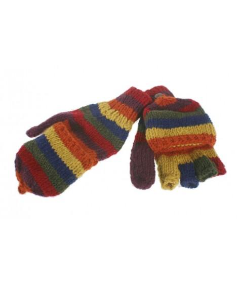 Guantes mitones con capucha de lana color marrón artesanal guantes calientes suaves cómodos para el frio invierno guantes miton