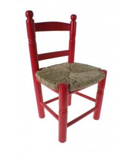 Silla infantil de madera y asiento de anea color rojo para niño niña regalo original