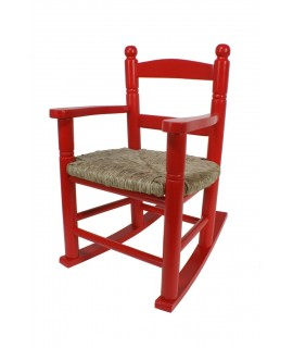 Mecedora infantil de madera asiento de anea color rojo decoración habitación niño niña regalo original. Medidas: 53xx34x42 cm.
