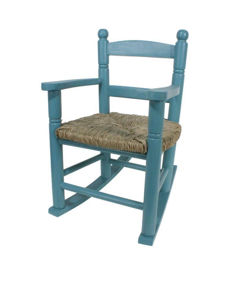 Mecedora infantil de madera y asiento de anea color azul vintage para niño niña regalo original