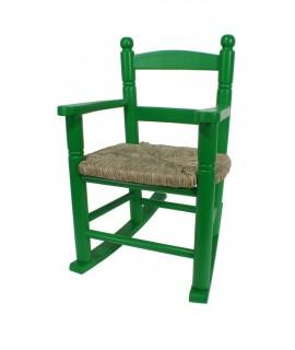 Mecedora infantil de madera y asiento de anea color verde para niño niña regalo original