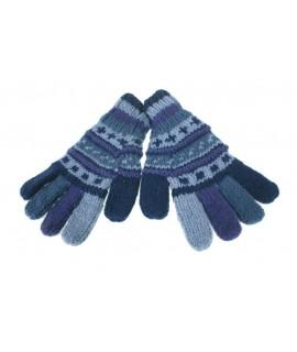 Guants de llana color blau calents suaus per l'hivern guants unisex artesanal adult regal original d'estil hippie