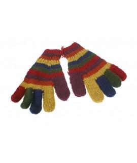 Guants de llana color arc de sant Martí calents suaus per l'hivern guants unisex artesanal adult regal original d'estil hippie