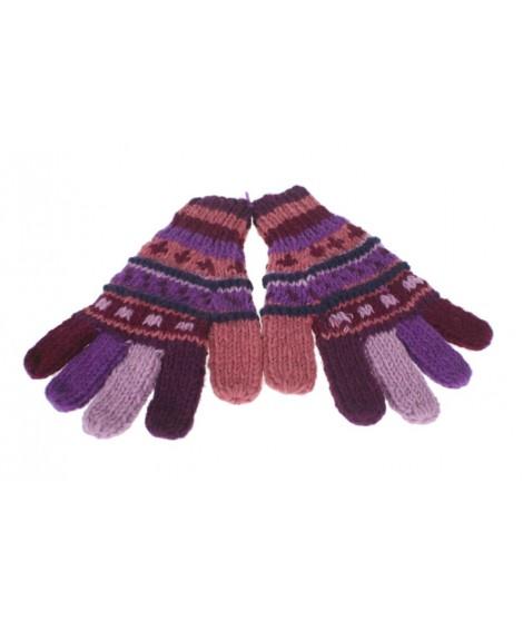 Guants de llana color lila calents suaus per l'hivern guants unisex artesanal adult regal original d'estil hippie