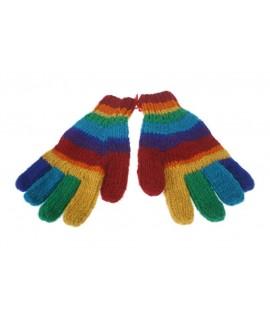 Guantes de lana color arcoíris calientes suaves para invierno guantes unisex artesanal adulto regalo original de estilo hippie