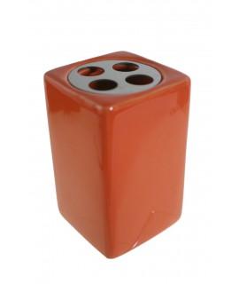 Organisateur avec brosses à dents en céramique orange et acier inoxydable. Mesures: 11x7x7 cm.