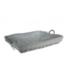 Bandeja de mimbre blanca para ropa de plancha forrada en tela y con asas y utensilio de almacenaje. Medidas: 15x62x44 cm.