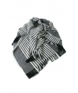 Bufanda estola bàsic color gris estampat a ratlles complement per a la teva look regal original funcional moda dona