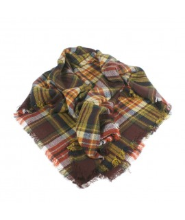 Bufanda estola bàsic color marró estampat amb quadres complement per a la teva look regal original funcional moda dona