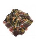 Bufanda estola suave grande de cuello diseño clasico color marrón dibujo cuadros regalo moda mujer. Medidas: 140x140 cm.
