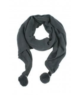 Bufanda acrílica de color gris con pompones en estremos moda mujer para regalo disfrutar del frio invierno bufanda para ella