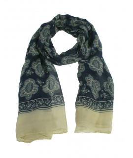 Bufanda foulard estilo básico estampado clásico color azul complemento para tu look regalo original funcional moda mujer