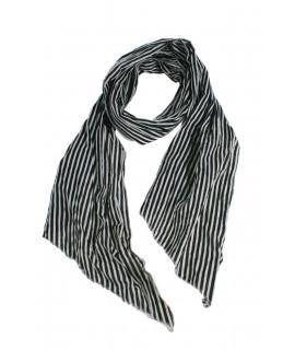 Pañuelo foulard de cuello suave estilo básico a rayas en blanco y negro para regalo moda mujer. Medidas: 180x40 cm.