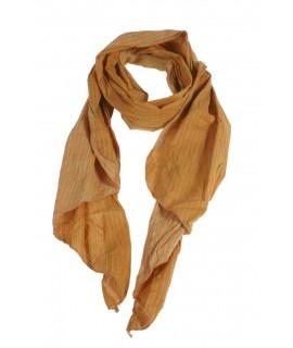 Pañuelo foulard de cuello suave estilo básico a rayas en naranja y verde para regalo moda mujer. Medidas: 180x40 cm.