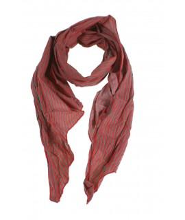 Pañuelo foulard de cuello suave estilo básico a rayas en naranja y gris para regalo moda mujer. Medidas: 180x40 cm.