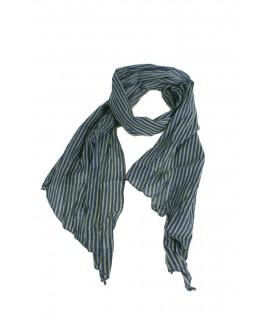 Pañuelo foulard de cuello suave estilo básico a rayas en azul y gris para regalo moda mujer. Medidas: 180x40 cm.