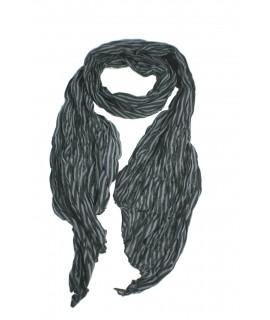 Pañuelo foulard de cuello suave estilo básico a rayas en negro y gris para regalo moda mujer. Medidas: 180x40 cm.