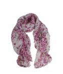 Pañuelo foulard de cuello tacto suave diseño estampado flores color rosa para regalo moda mujer. Medidas: 170x60 cm.