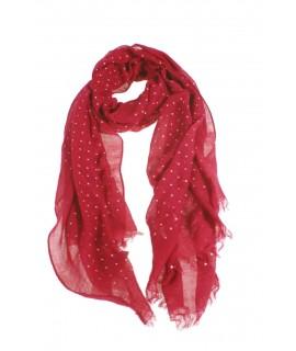 Bufanda foulard bàsic color vermell estampat talps blancs complement per a la teva look regal original funcional moda dona
