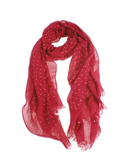 Bufanda foulard básico color rojo estampado topos blancos complemento para tu look regalo original funcional moda mujer