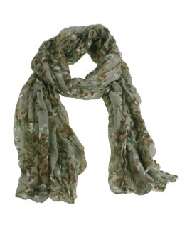 Bufanda foulard estilo básico color marrón estampado flores otoñal complemento para tu look regalo original funcional moda mujer