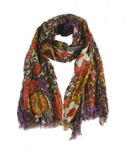 Pañuelo foulard de cuello suave estilo étnico de color marrón estampado para regalo moda mujer. Medidas: 170x85 cm.