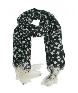 Bufanda foulard básico color negro estampado estrellas nordico complemento para tu look regalo original funcional moda mujer