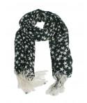 Pañuelo foulard suave de cuello diseño nórdico color negro estampado estrellas blancas moda mujer. Medidas: 190x70 cm.