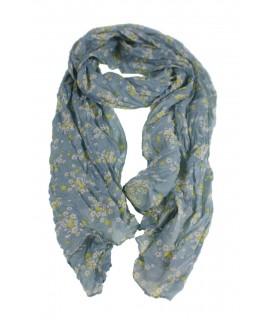 Bufanda foulard estilo básico color azul estampado flores margaritas complemento para tu look regalo original funcional moda muj