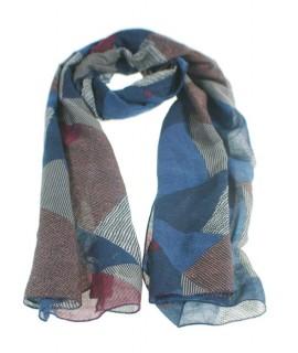 Écharpe basique de couleur bleue imprimée avec des carrés complètent pour votre look cadeau fonctionnel original mode féminine